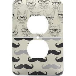 Hipster Cats & Mustache Electric Outlet Plate (Personalized)