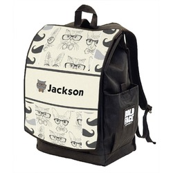 Hipster Cats & Mustache Backpack w/ Front Flap  (Personalized)