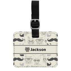 Hipster Cats & Mustache Genuine Leather Rectangular  Luggage Tag (Personalized)