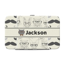 Hipster Cats & Mustache Genuine Leather Small Framed Wallet (Personalized)