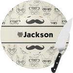 Hipster Cats & Mustache Round Glass Cutting Board (Personalized)