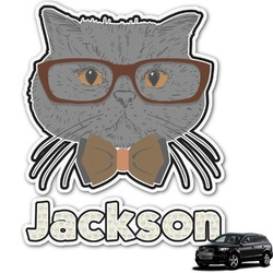 Hipster Cats & Mustache Graphic Car Decal (Personalized)