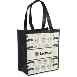 Hipster Cats & Mustache Grocery Bag (Personalized)