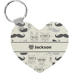 Hipster Cats & Mustache Heart Keychain (Personalized)