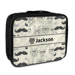 Hipster Cats & Mustache Insulated Lunch Bag (Personalized)