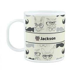 Hipster Cats & Mustache Plastic Kids Mug (Personalized)