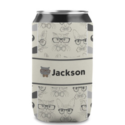 Hipster Cats & Mustache Can Sleeve (12 oz) (Personalized)