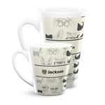 Hipster Cats & Mustache Latte Mug (Personalized)