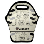 Hipster Cats & Mustache Lunch Bag w/ Name or Text