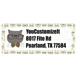 Hipster Cats & Mustache Return Address Label (Personalized)