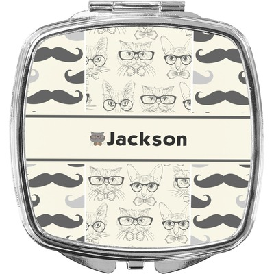 Hipster Cats & Mustache Compact Makeup Mirror (Personalized)