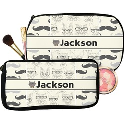 Hipster Cats & Mustache Makeup / Cosmetic Bag (Personalized)