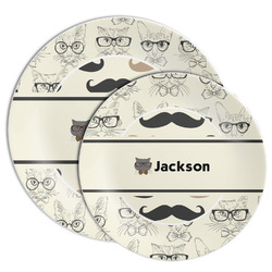 Hipster Cats & Mustache Melamine Plate (Personalized)