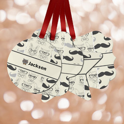 Hipster Cats & Mustache Metal Ornaments - Double Sided w/ Name or Text