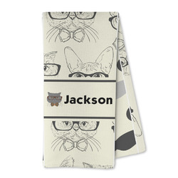 Hipster Cats & Mustache Microfiber Kitchen Towel (Personalized)