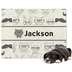 Hipster Cats & Mustache Minky Dog Blanket (Personalized)