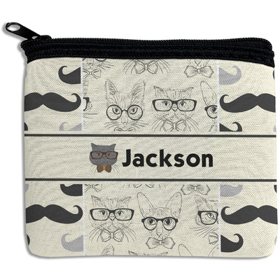 Hipster Cats & Mustache Rectangular Coin Purse (Personalized)