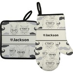 Hipster Cats & Mustache Oven Mitt & Pot Holder (Personalized)