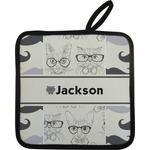 Hipster Cats & Mustache Pot Holder w/ Name or Text