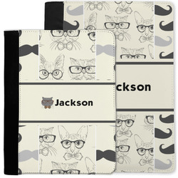 Hipster Cats & Mustache Notebook Padfolio w/ Name or Text