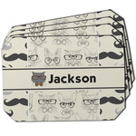 Hipster Cats & Mustache Dining Table Mat - Octagon w/ Name or Text