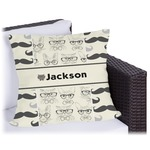 Hipster Cats & Mustache Outdoor Pillow (Personalized)