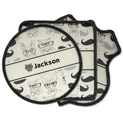 Hipster Cats & Mustache Iron on Patches (Personalized)