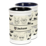 Hipster Cats & Mustache Ceramic Pencil Holder - Large