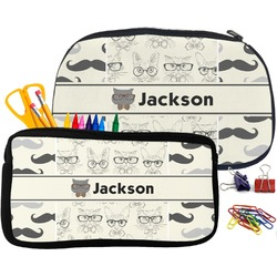 Hipster Cats & Mustache Pencil / School Supplies Bag (Personalized)