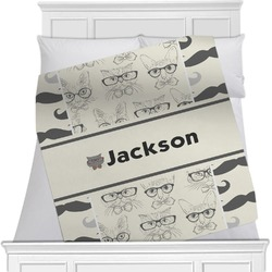 Hipster Cats & Mustache Blanket (Personalized)