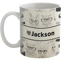 Hipster Cats & Mustache Coffee Mug (Personalized)
