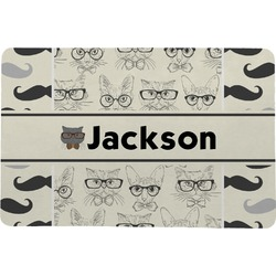 "Hipster Cats & Mustache Comfort Mat - 18""x27"" (Personalized)"