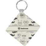 Hipster Cats & Mustache Diamond Key Chain (Personalized)