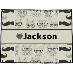 Hipster Cats & Mustache Door Mat (Personalized)