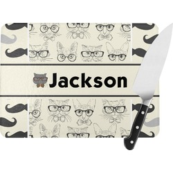 Hipster Cats & Mustache Rectangular Glass Cutting Board (Personalized)