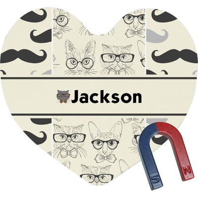 Hipster Cats & Mustache Heart Fridge Magnet (Personalized)