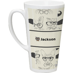 Hipster Cats & Mustache Latte Mug (Personalized)