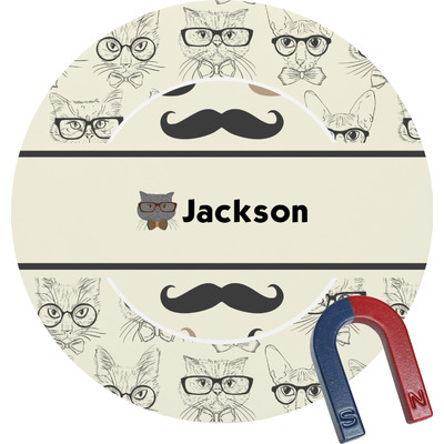 Hipster Cats & Mustache Round Fridge Magnet (Personalized)