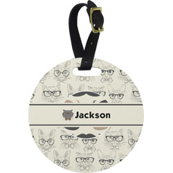 Hipster Cats & Mustache Round Luggage Tag (Personalized)