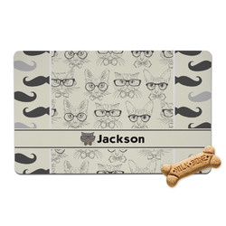 Hipster Cats & Mustache Pet Bowl Mat (Personalized)