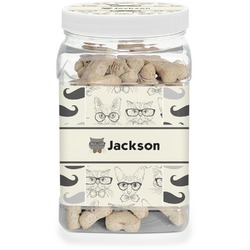 Hipster Cats & Mustache Pet Treat Jar (Personalized)