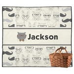 Hipster Cats & Mustache Outdoor Picnic Blanket (Personalized)