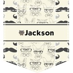 Hipster Cats & Mustache Iron On Faux Pocket (Personalized)