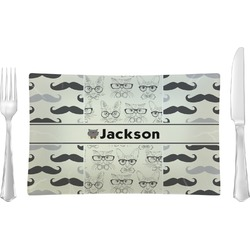 Hipster Cats & Mustache Glass Rectangular Lunch / Dinner Plate - Single or Set (Personalized)