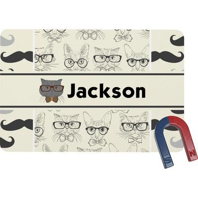 Hipster Cats & Mustache Rectangular Fridge Magnet (Personalized)