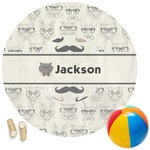 Hipster Cats & Mustache Round Beach Towel (Personalized)