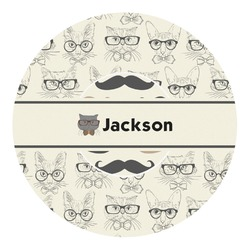 Hipster Cats & Mustache Round Decal - Small (Personalized)
