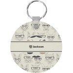 Hipster Cats & Mustache Round Keychain (Personalized)