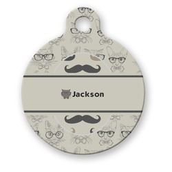 Hipster Cats & Mustache Round Pet Tag (Personalized)