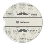 Hipster Cats & Mustache Sandstone Car Coasters (Personalized)